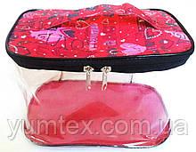Прозора сумочка ручної роботи із силіконової плівки і водонепроникної тканини червона з сердечками