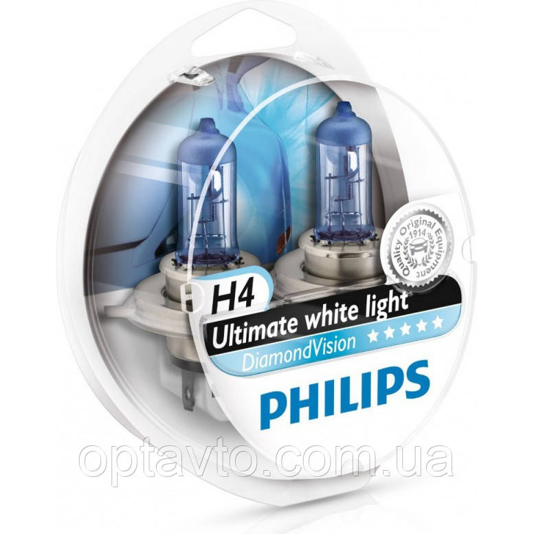 Авто лампа H4 PHILIPS  60/55W 12V P43t Diamond Vision. Супер белый. Эффект ксенона!
