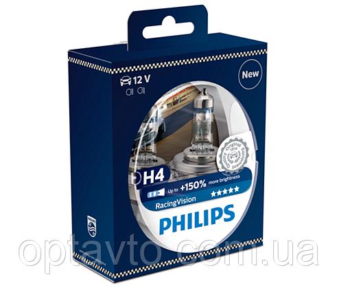 Авто лампа  H4 PHILIPS Сверх Яркая! 60/55W 12V P43T RacingVision +150%
