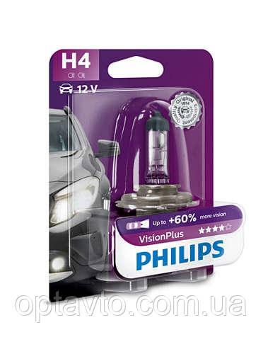 Авто лампа H4 PHILIPS 60/55W 12V P43t Vision Plus