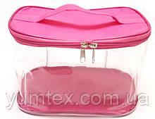 Прозора сумочка ручної роботи із силіконової плівки і водонепроникної тканини фуксія