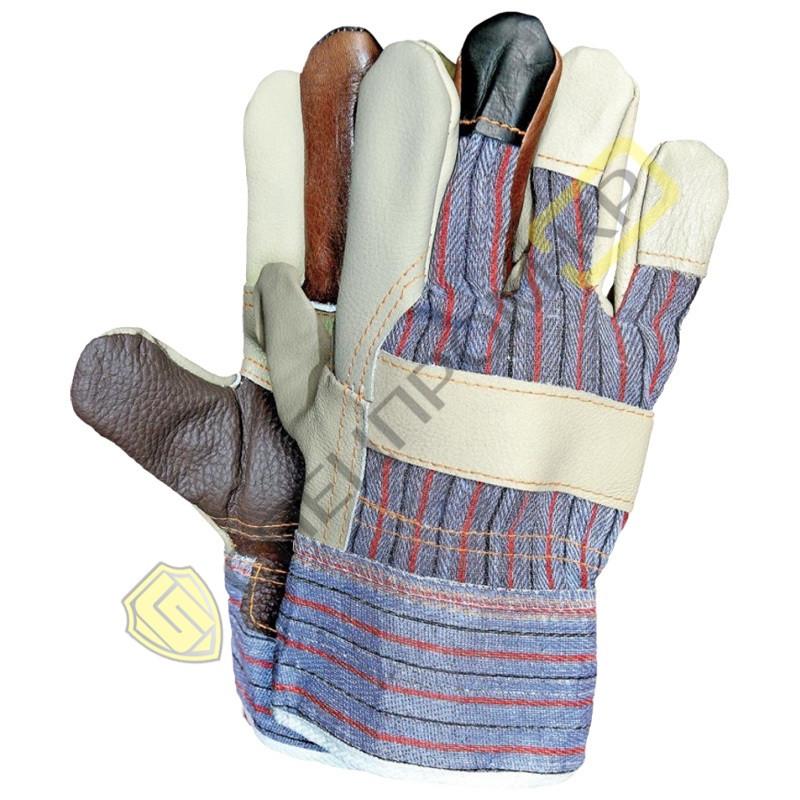 Перчатки комбинированная кожа+хб