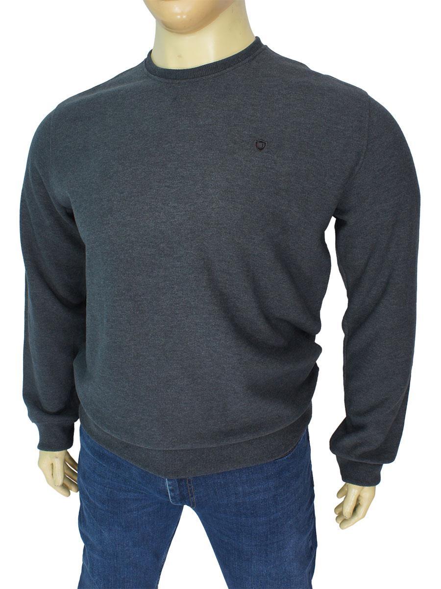 Хлопковый мужской серый свитер Better Life 1497 B antracit в больших размерах
