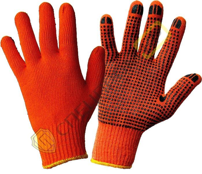 Перчатки х/б вязанные с ПВХ точкой (оранжевые) 3 нити 7 класс