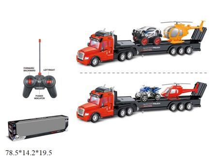 Машина радиоуправляемая, трейлер, автовоз с транспортом, на аккумуляторе, музыка, свет, 2 вида, 706A-3