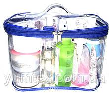 Прозора сумочка ручної роботи із силіконової плівки і водонепроникної тканини синій кант