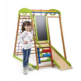 Детский спортивный деревянный уголок «BabyWood Plus»ТМ Sportbaby, размеры 1.3х0.85х1.32м