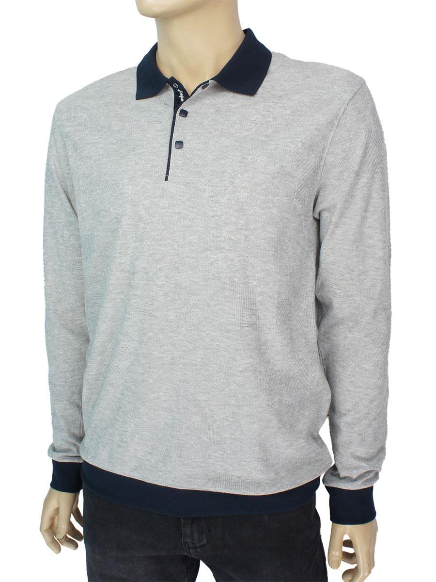 Турецкий мужской серый свитер Caporicco 9263 H Gri-melanj воротник-поло