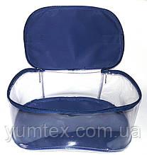 Прозора сумочка ручної роботи із силіконової плівки і водонепроникної тканини синя