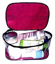 Прозора сумочка ручної роботи із силіконової плівки і водонепроникної тканини червона в сердечка