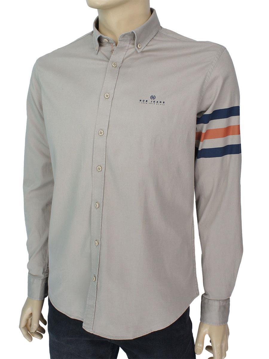 Бежевая мужская рубашка Negredo Art.9060-2018 Н