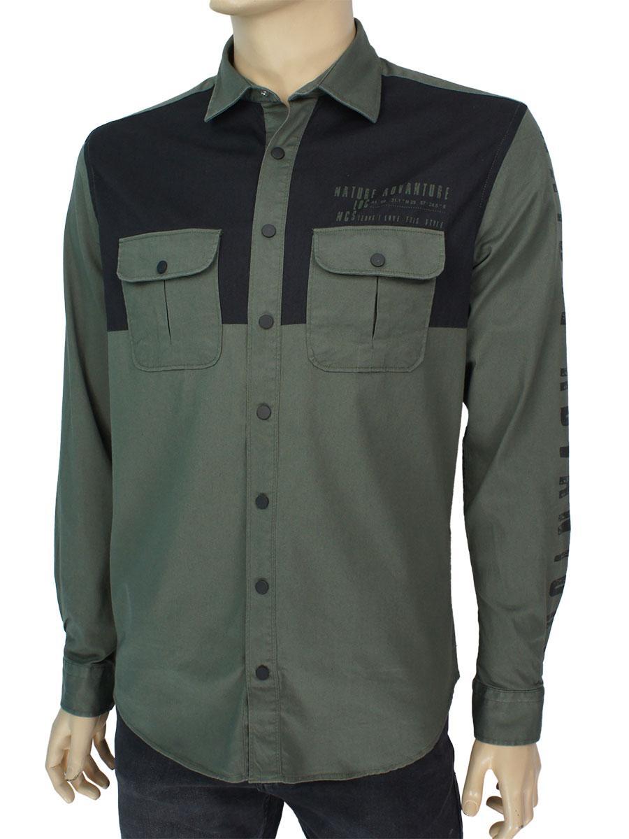 Стильная мужская рубашка NCS 7978 Haki