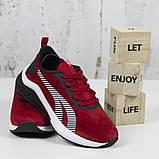 Жіночі спортивні кросівки, червоні замшеві BaaS L1611-8. Повсякденні жіночі кросівки на високій підошві, фото 6