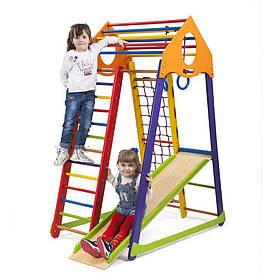 Дитячий спортивний дерев'яний куточок «BambinoWood Color»ТМ Sportbaby, розміри 1.7х0.85х1.32м