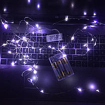 Гирлянда для декора Роса белый 10 м, на батарейках и USB, 2 режима свечения, фото 3