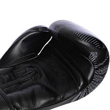 Перчатки боксерские кожаные на липучке VENUM IMPACT VL-2038 Черный-белый, 14 унции, фото 3