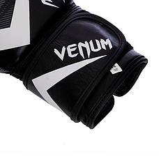 Перчатки боксерские кожаные на липучке VENUM IMPACT VL-2038 Черный-белый, 14 унции, фото 2