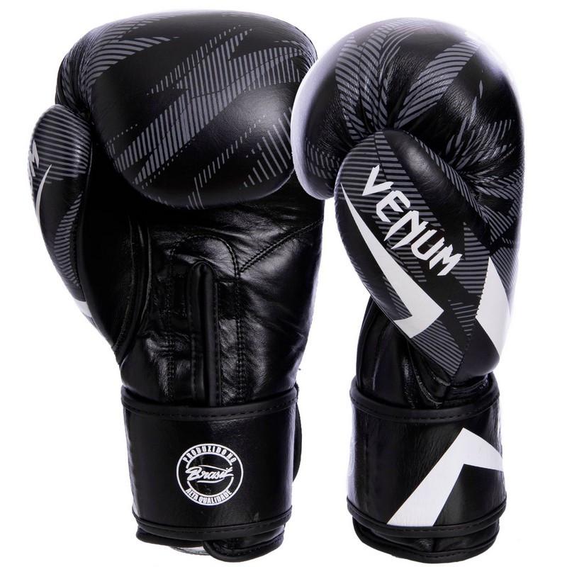 Перчатки боксерские кожаные на липучке VENUM IMPACT VL-2038 Черный-белый, 14 унции