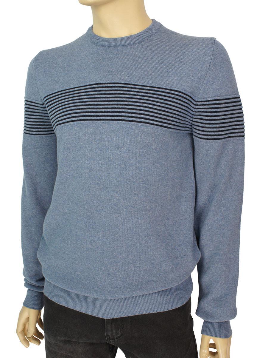 Турецкий хлопковый мужской свитер Cott're 20516 в синем цвете
