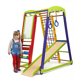 Детский спортивный деревянный уголок «Кроха 1» ТМ Sportbaby, размеры 1.5х0.85х1.32м