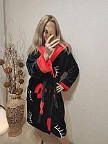 Женский теплый домашний халат черного цвета, фото 2