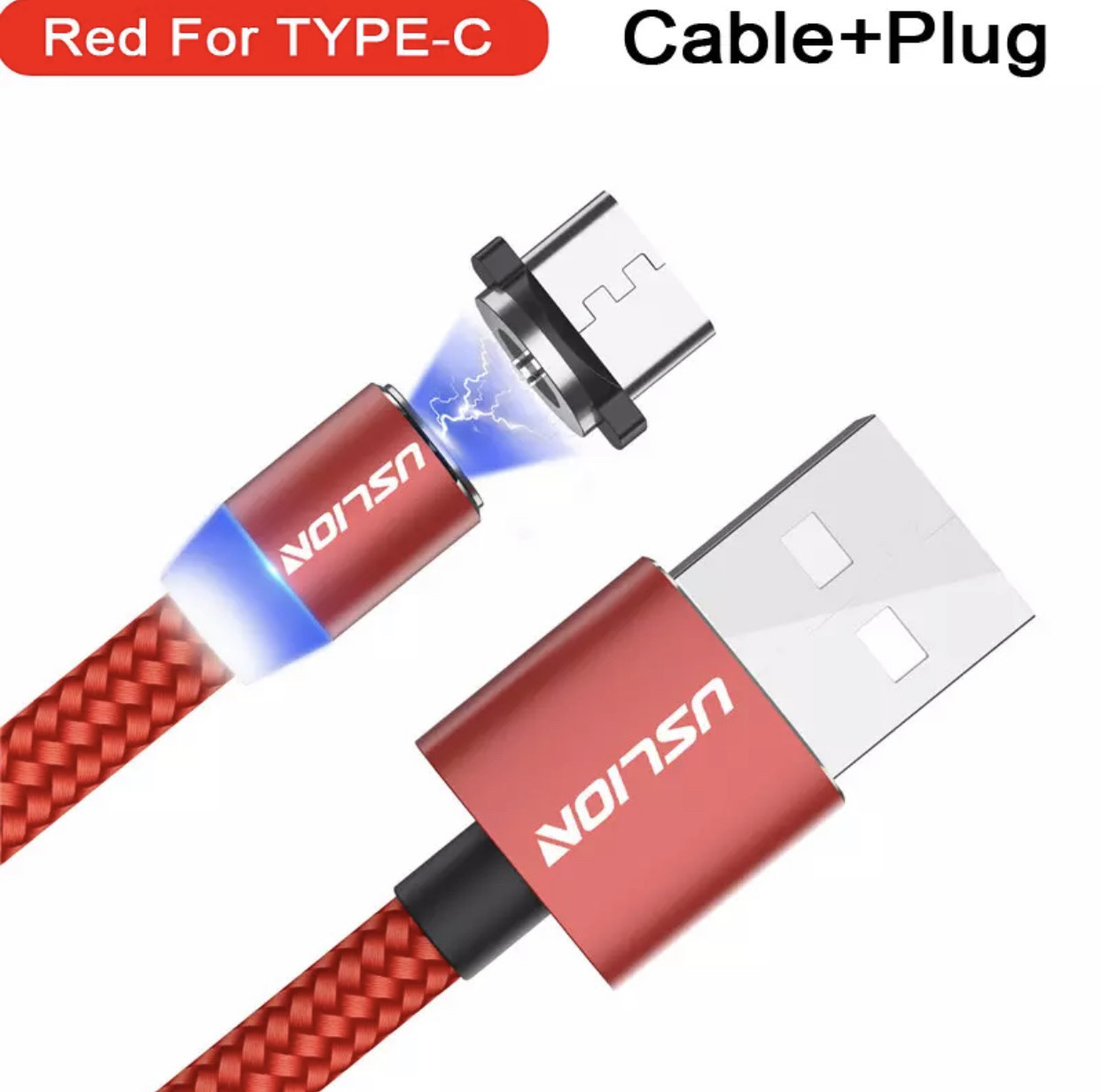 Магнитный кабель Lighting + стекло для Iphone/IPad шнур red
