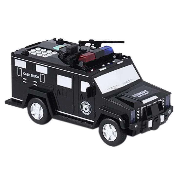 Дитячий сейф з кодом і відбитком пальця у вигляді поліцейської машини Cash Truck