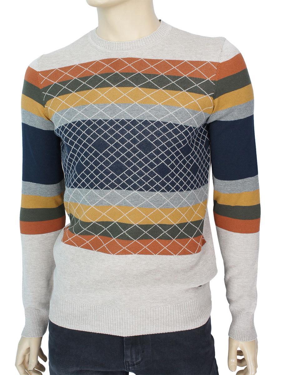 Качественный мужской комбинированный свитер NCS 3475 Bej Турция