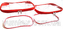 Прозора сумочка ручної роботи із силіконової плівки і водонепроникної тканини червоний кант