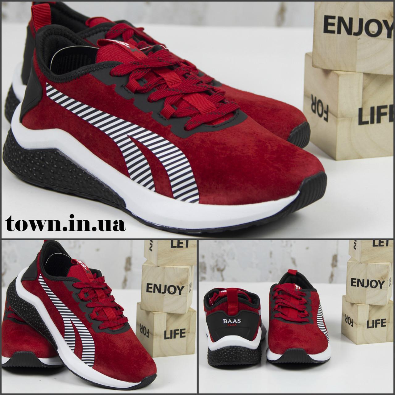 Жіночі спортивні кросівки, червоні замшеві BaaS L1611-8. Повсякденні жіночі кросівки на високій підошві