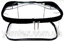 Прозора сумочка ручної роботи із силіконової плівки і водонепроникної тканини чорний кант