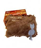 Грілка-муфта для рук коричнева з котом