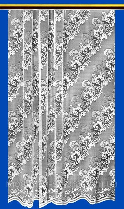 """Жаккардовый тюль """"Ажурная диагональ"""" (белый), высота 300 см"""