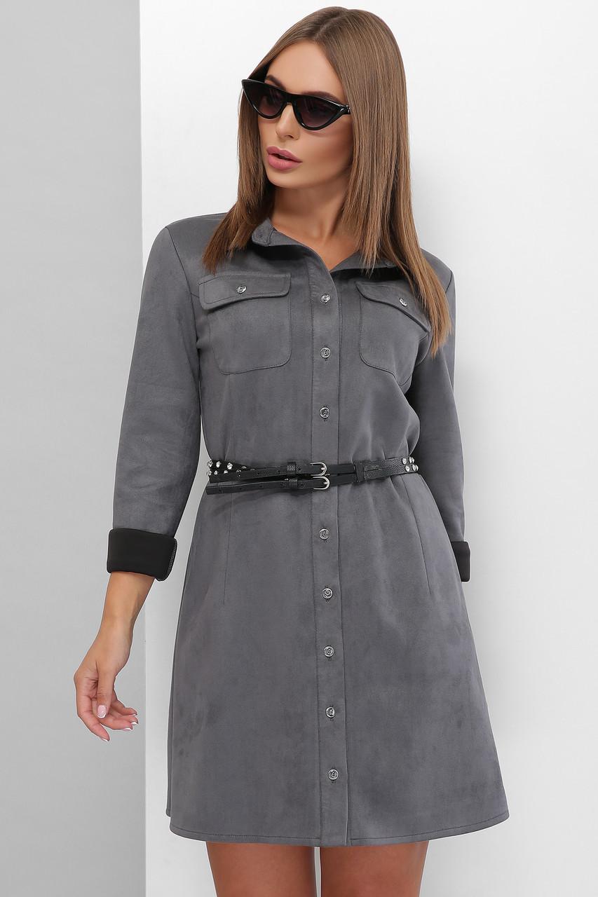 Сукня з еко-замші на гудзиках з кишенями на грудях колір графіт
