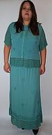 Костюм женский (блузка с юбкой) зеленый, на 48 размер