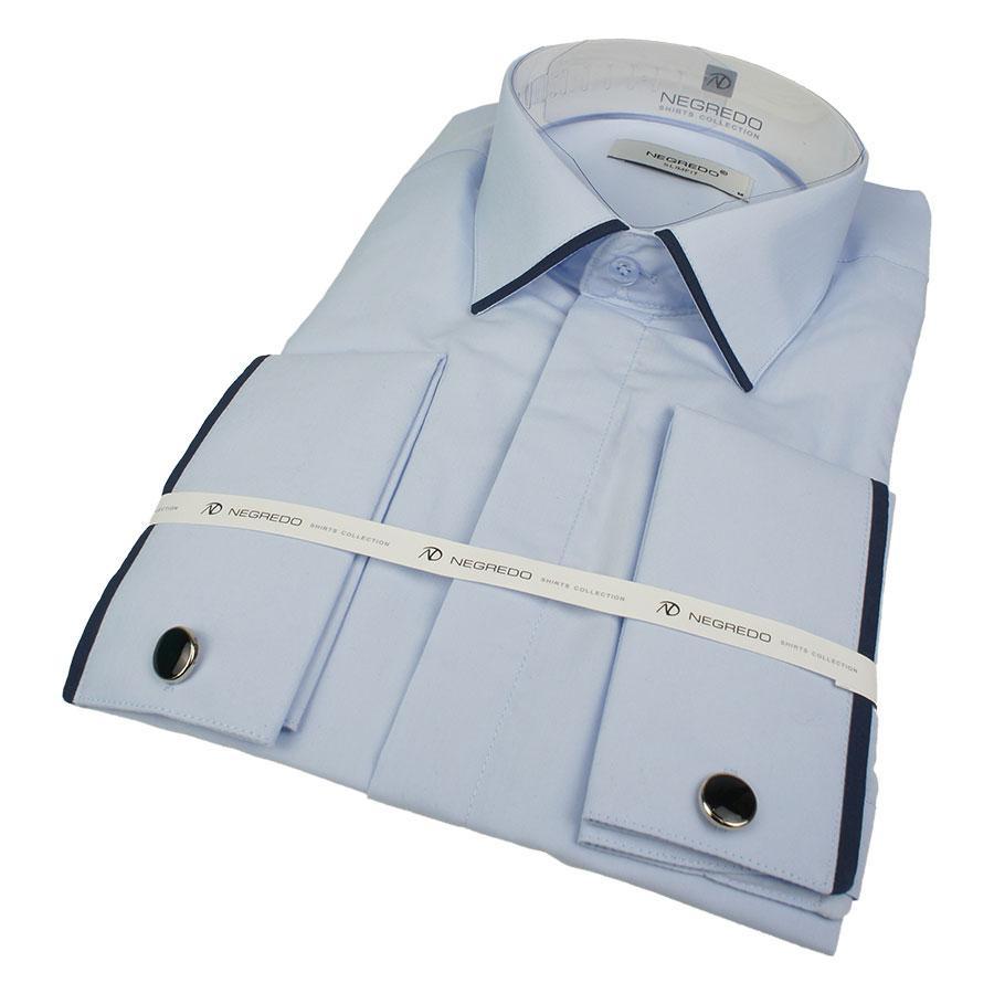 Турецька чоловіча сорочка Negredo 1053-B C-01 під запонку в блакитному кольорі