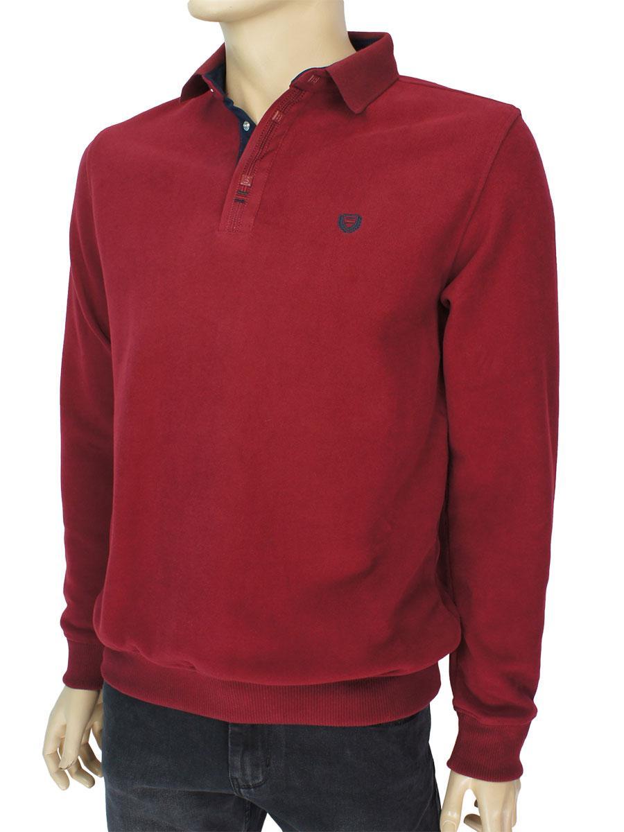Стильний чоловічий бордовий светр Better Life 2140 H bordo комір-поло