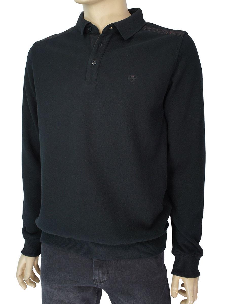 Бавовняний чоловічий светр Better Life 2142 H siyan чорного кольору