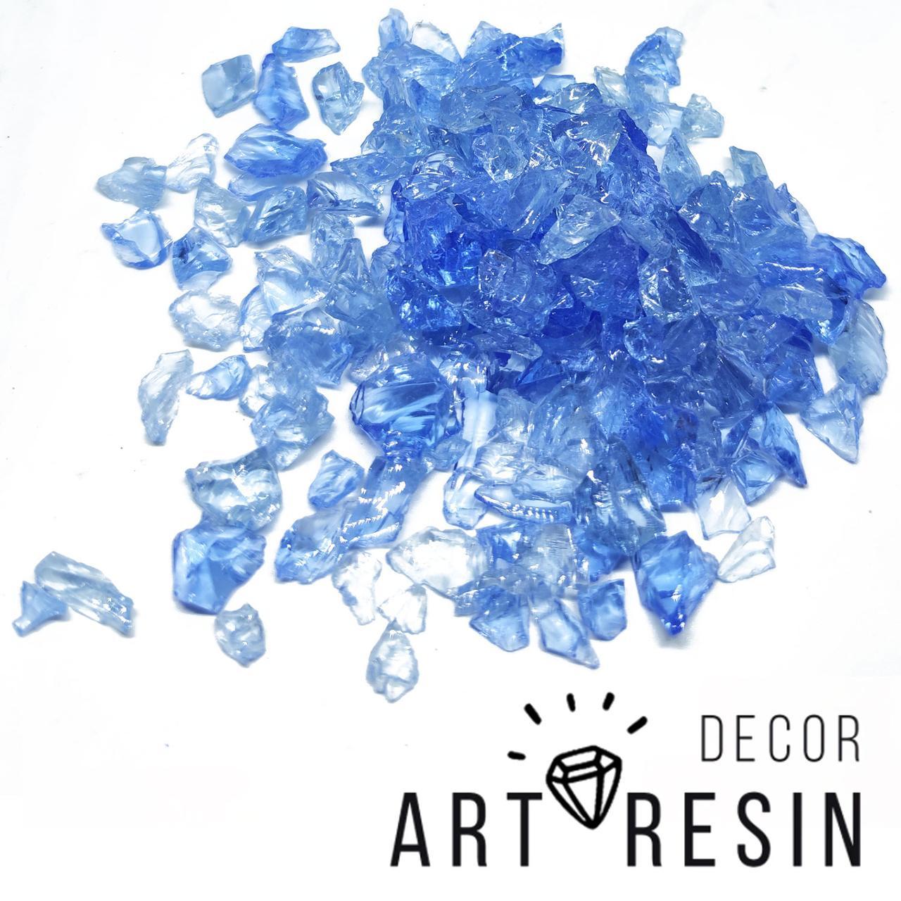 """Стеклокрошка цвет """"Голубой ледник"""", средняя фракция, 5-8 мм, микс, уп. 150 г"""