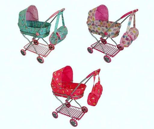 Коляска для куклы, железная, 67-63-35, корзина, сумка, 9325, фото 2
