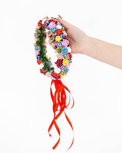 Цветной ободок с цветами для волос