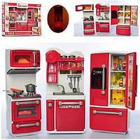 Детский игровой набор кухня, со светом и звуком на батарейках, игрушечные кухни для девочки, красная