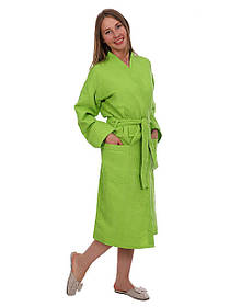 Вафельний халат Luxyart Кімоно 50-52 L Олива КОД: LS-154
