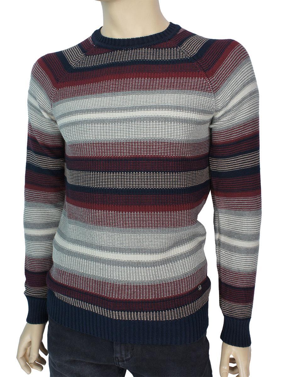 Стильний чоловічий бавовняний светр NCS 3463 Bordo в смужку
