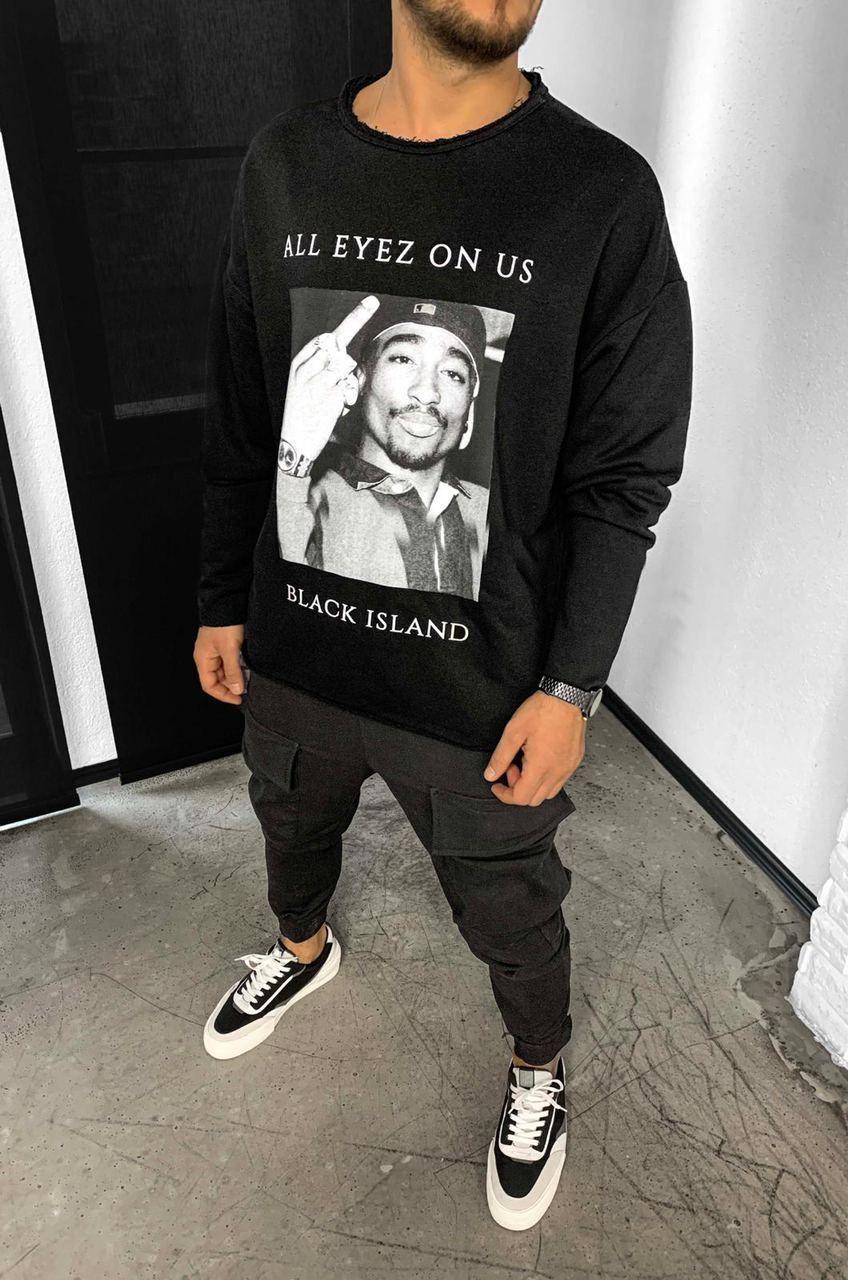 😜 Свитшот - Мужской базовый свитшот Black Island черный