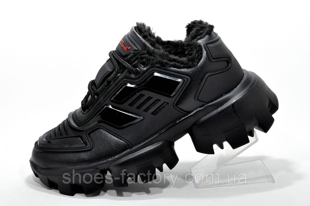 Зимние кроссы в стиле Prada Прада Клауд Буст Тандер Black