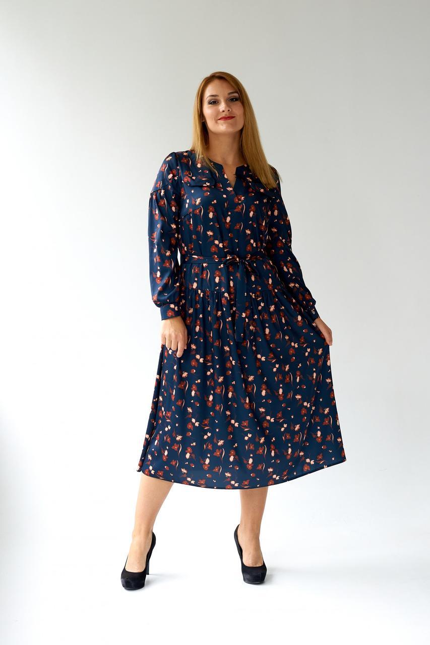 Модне ошатне плаття з шовку з трикотажною підкладкою 48,50,52,54 розміри Синій