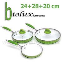 Сковородки керамические Biolux kerama, Биолюкс Керама (3 шт.) - 1150 грн.
