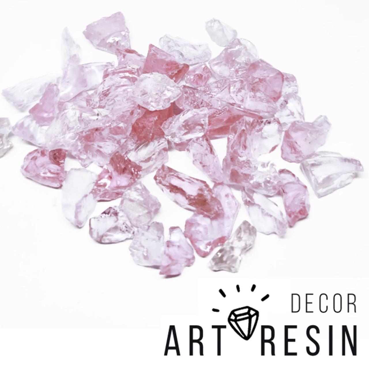 "Эрклез ""Розовый лед"", кусковое стекло, фракция 10-25 мм, цвет розовато-сиреневый. 200г"