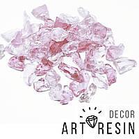 """Эрклез """"Розовый лед"""", кусковое стекло, фракция 10-25 мм, цвет розовато-сиреневый. 200г, фото 1"""
